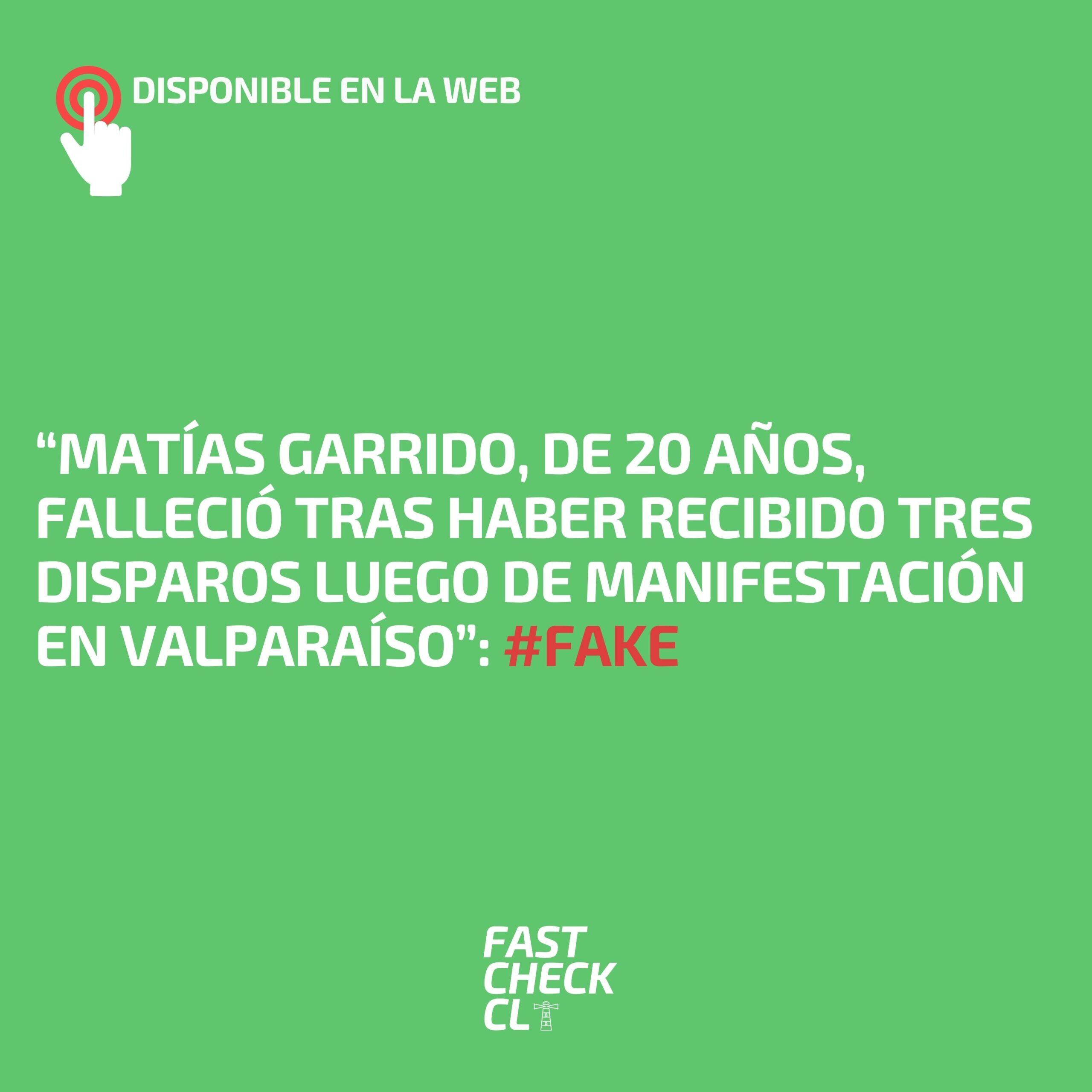 """Read more about the article """"Matías Garrido, de 20 años, falleció tras haber recibido tres disparos luego de manifestación en Valparaíso"""": #Fake"""