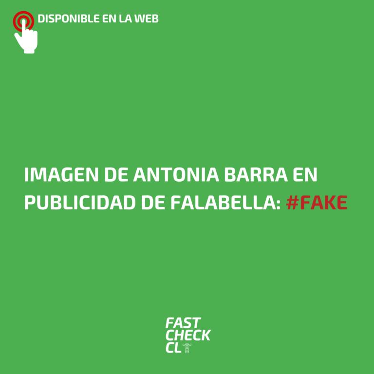 Imagen de Antonia Barra en publicidad de Falabella: #Fake