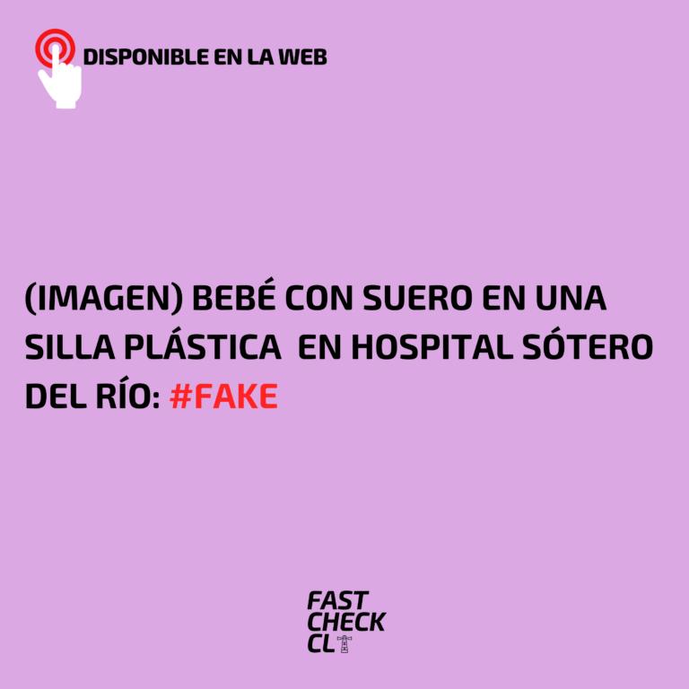 (Imagen) Bebé con suero en una silla plástica en Hospital Sótero del Río: #Fake