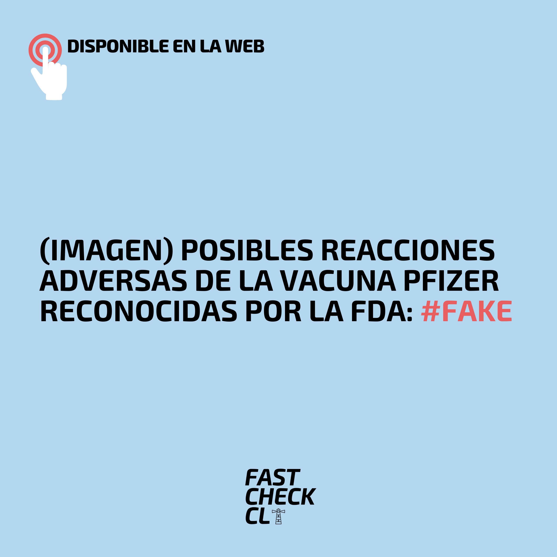 (Imagen) Posibles reacciones adversas de la vacuna Pfizer reconocidas por la FDA: #Fake
