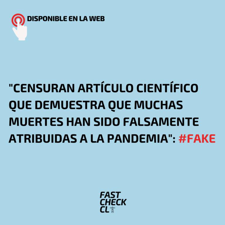 """""""Censuran artículo científico que demuestra que muchas muertes han sido falsamente atribuidas a la Pandemia"""": #Fake"""