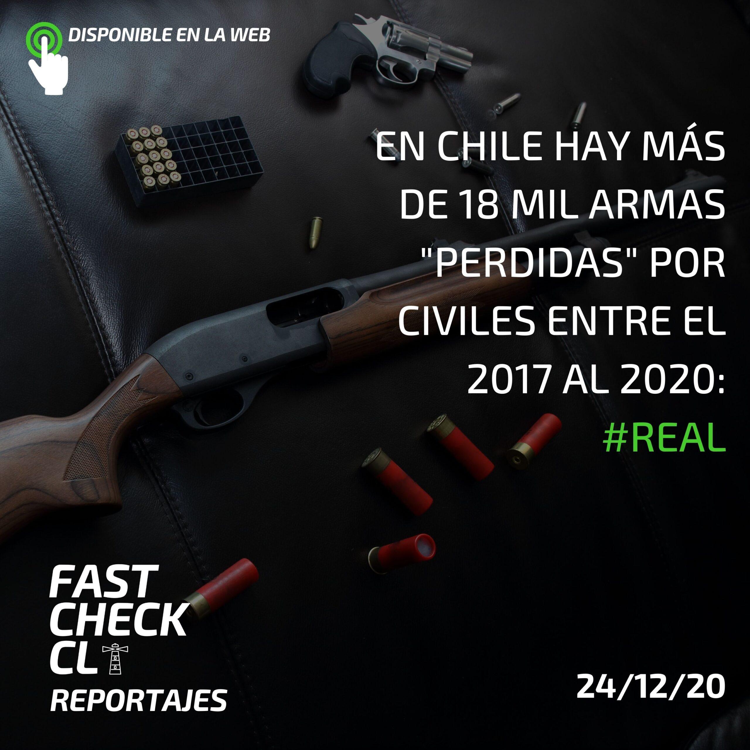 """En Chile hay más de 18 mil armas """"perdidas"""" por civiles entre el 2017 al 2020: #Real"""