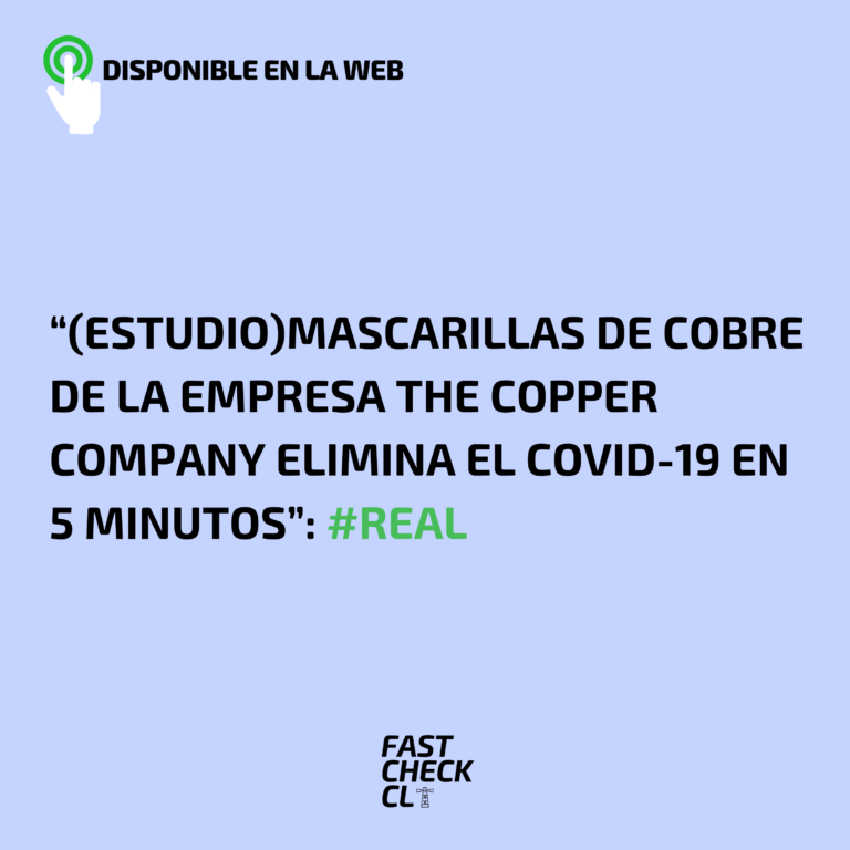 "(Estudio) ""Mascarillas de cobre de la empresa The Copper Company elimina el COVID-19 en 5 minutos"": #Real"
