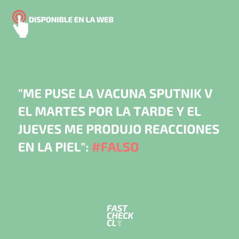 """""""Me puse la vacuna Sputnik v el martes por la tarde y el jueves me produjo reacciones en la piel"""": #Falso"""