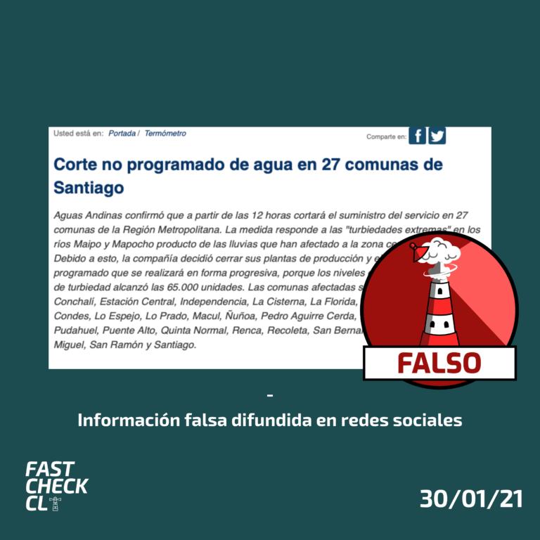 (Imagen) Corte no programado del suministro de agua en 27 comunas de Santiago: #Falso