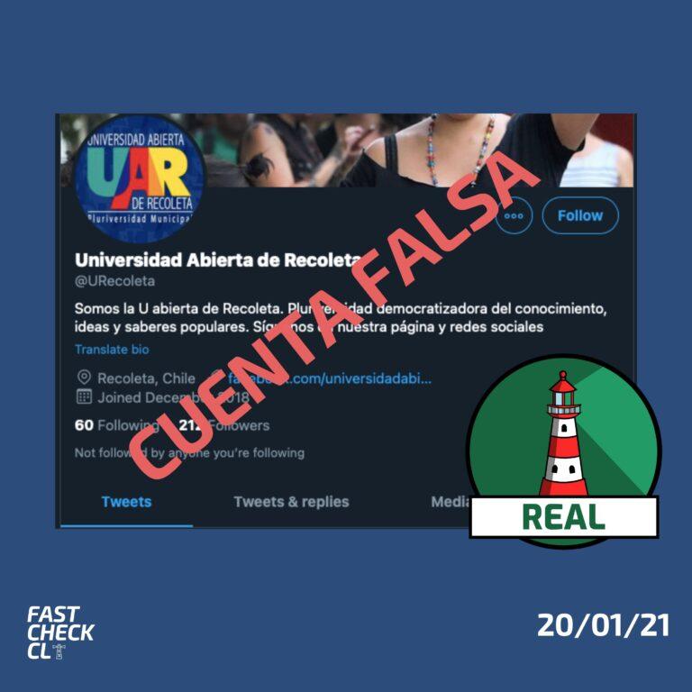Cuenta falsa de Universidad Abierta de Recoleta promueve la desinformación: #Real