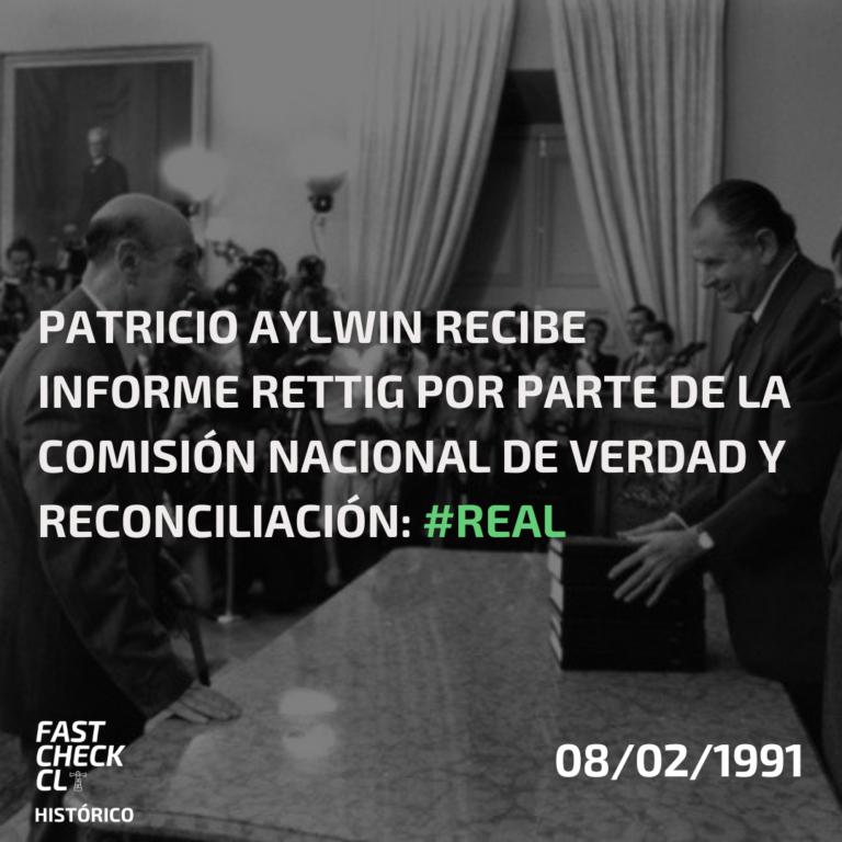 Read more about the article Patricio Aylwin recibe Informe Rettig por parte de la Comisión Nacional de Verdad y Reconciliación: #Real