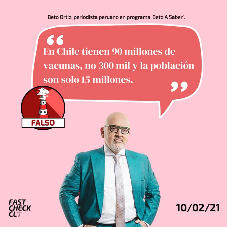 """""""En Chile tienen 90 millones de vacunas, no 300 mil y la población son solo 15 millones"""": #Falso"""