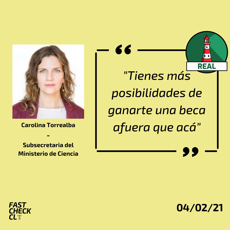"""(Carolina Torrealba) """"Tienes más posibilidades de ganarte una beca afuera que acá"""": #Real"""