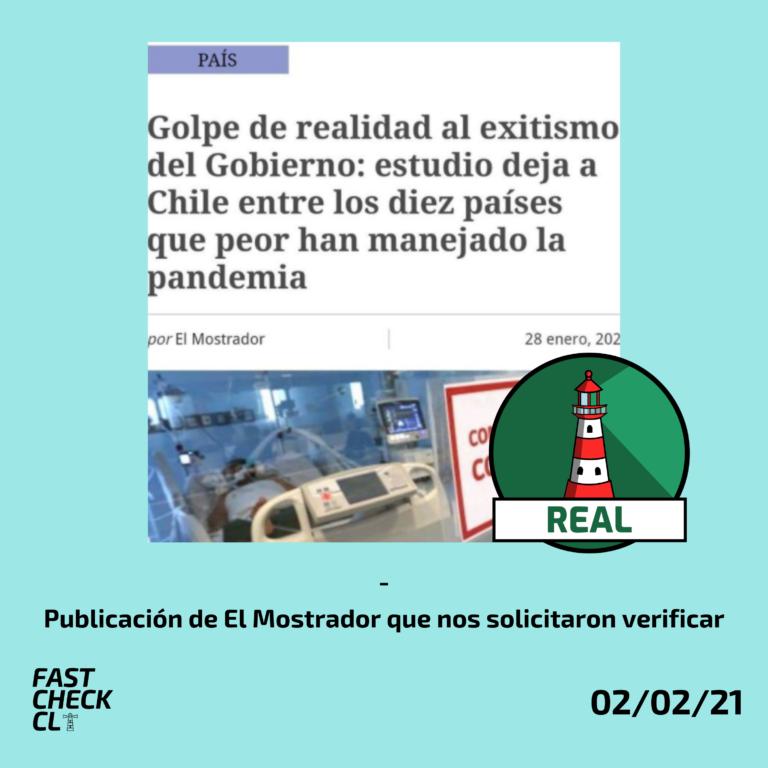 """""""Estudio deja a Chile entre los diez países que peor han manejado la pandemia"""": #Real"""