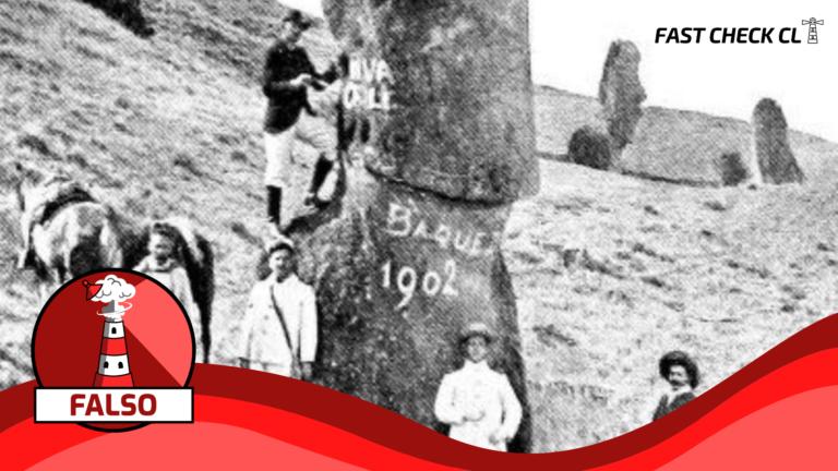 """Read more about the article (Imagen) """"El general Baquedano vandalizando una estatua Moai en 1902"""": #Falso"""