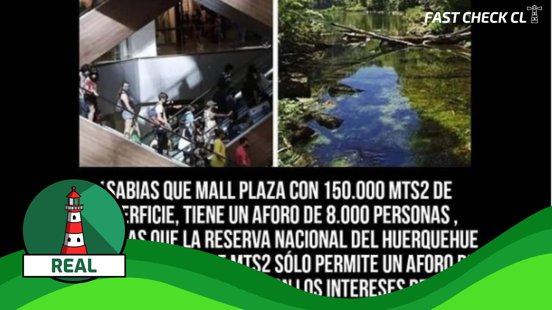 (Imagen): Mallplaza Oeste con una superficie de 150 mil m2, tiene aforo de ocho mil personas, en tanto el Parque Nacional Huerquehue con 125 millones de m2 cuenta con una capacidad máxima de 250: #Real