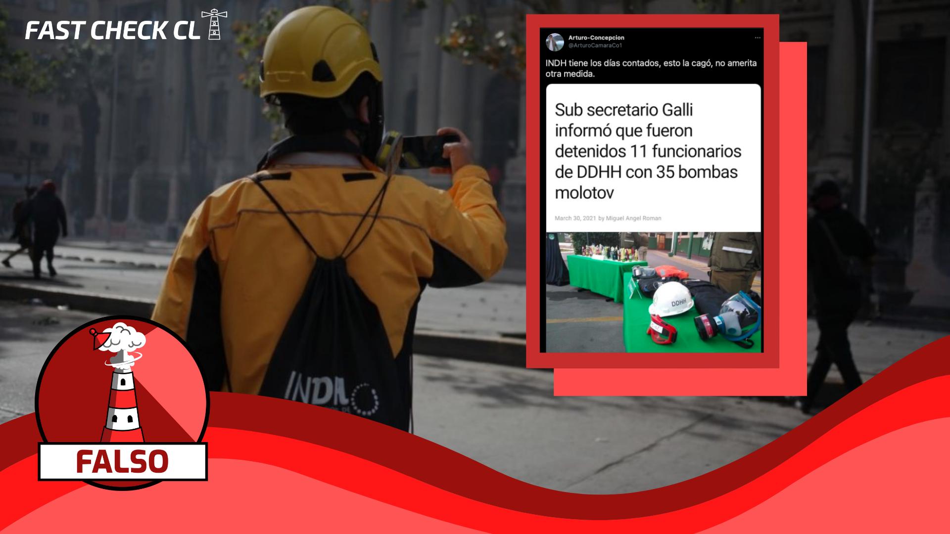 Observadores de Derechos Humanos del INDH detenidos por portar bombas molotov el día del joven combatiente: #Falso