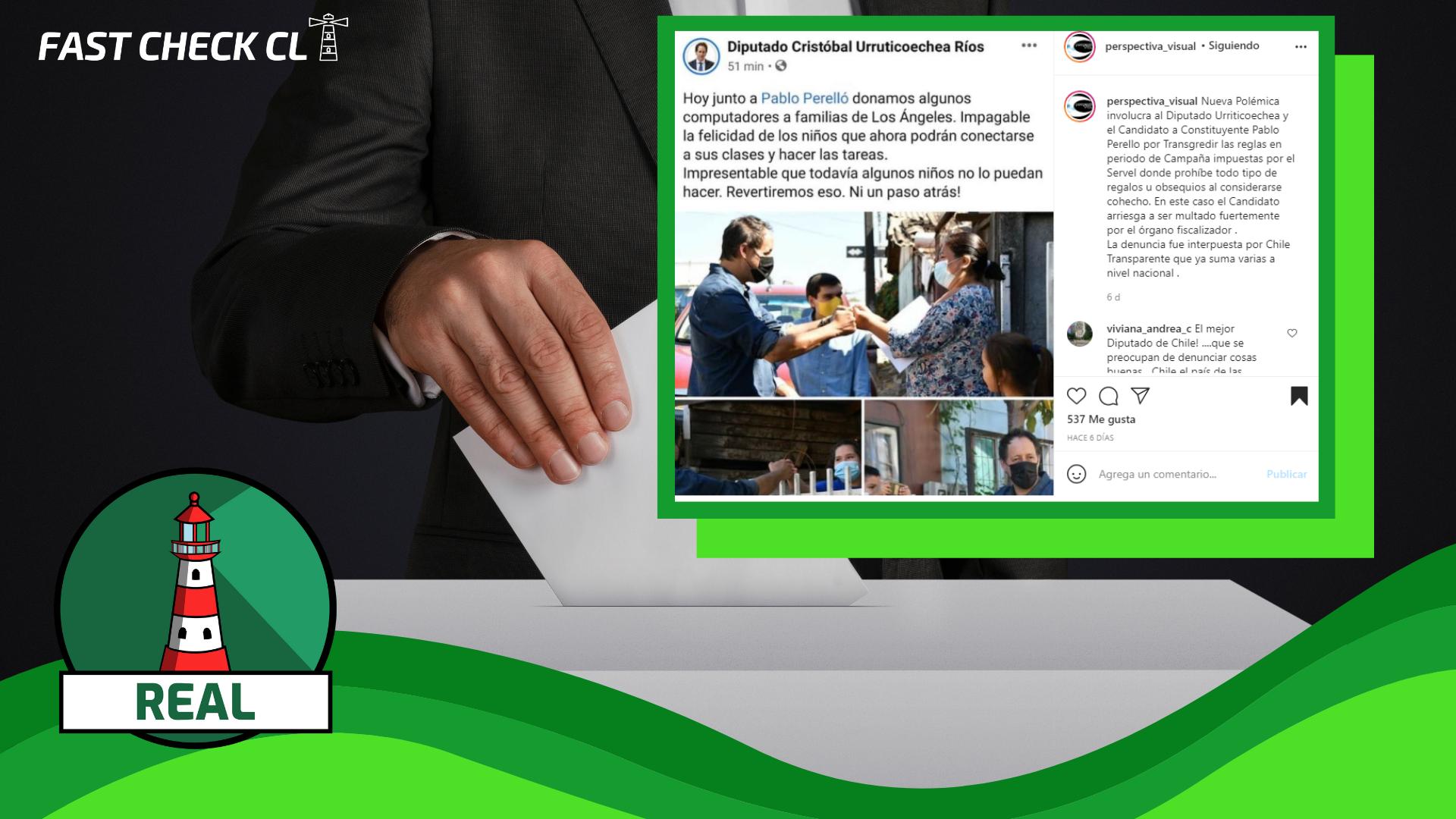 Diputado Cristóbal Urruticoechea y Pablo Perelló, candidato constituyente del distrito 21, regalaron computadores a familias en Los Ángeles durante periodo electoral: #Real
