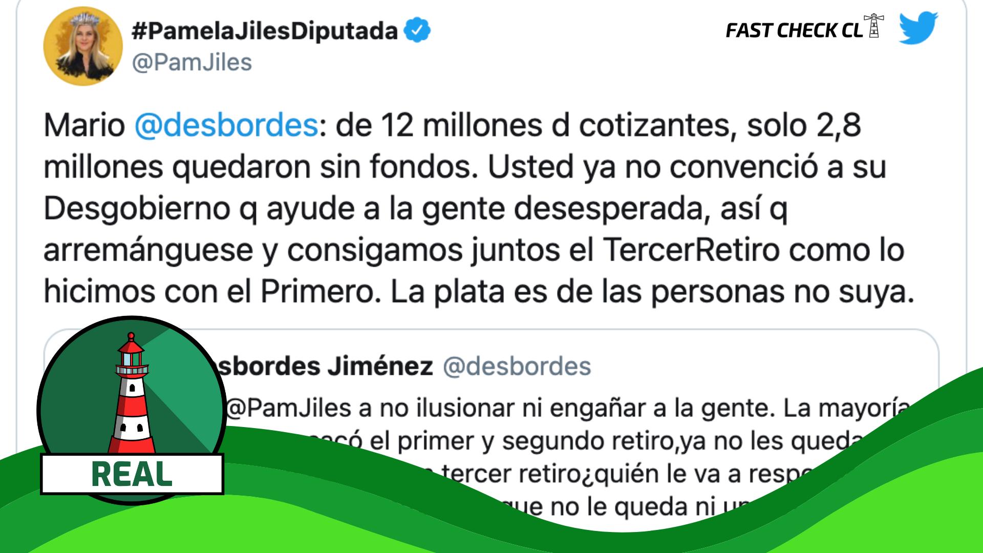 """Diputada Pamela Jiles: """"De los 12 millones de cotizantes, solo 2,8 millones quedaron sin fondos"""": #Real"""