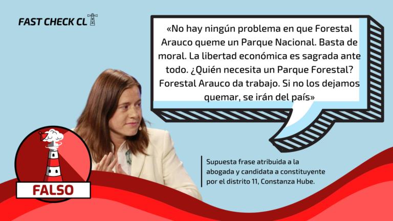 Read more about the article Constanza Hube: «No hay ningún problema en que Forestal Arauco queme un Parque Nacional, la libertad económica es sagrada ante todo»: #Falso