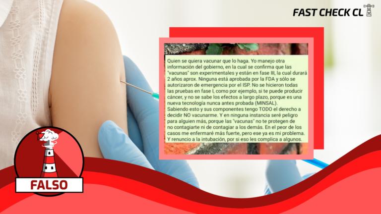 """""""Se confirma que las vacunas son experimentales y están en fase III"""": #Falso"""