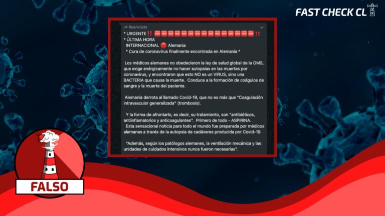 (Whatsapp) Cura de coronavirus fue encontrada en Alemania: #Falso