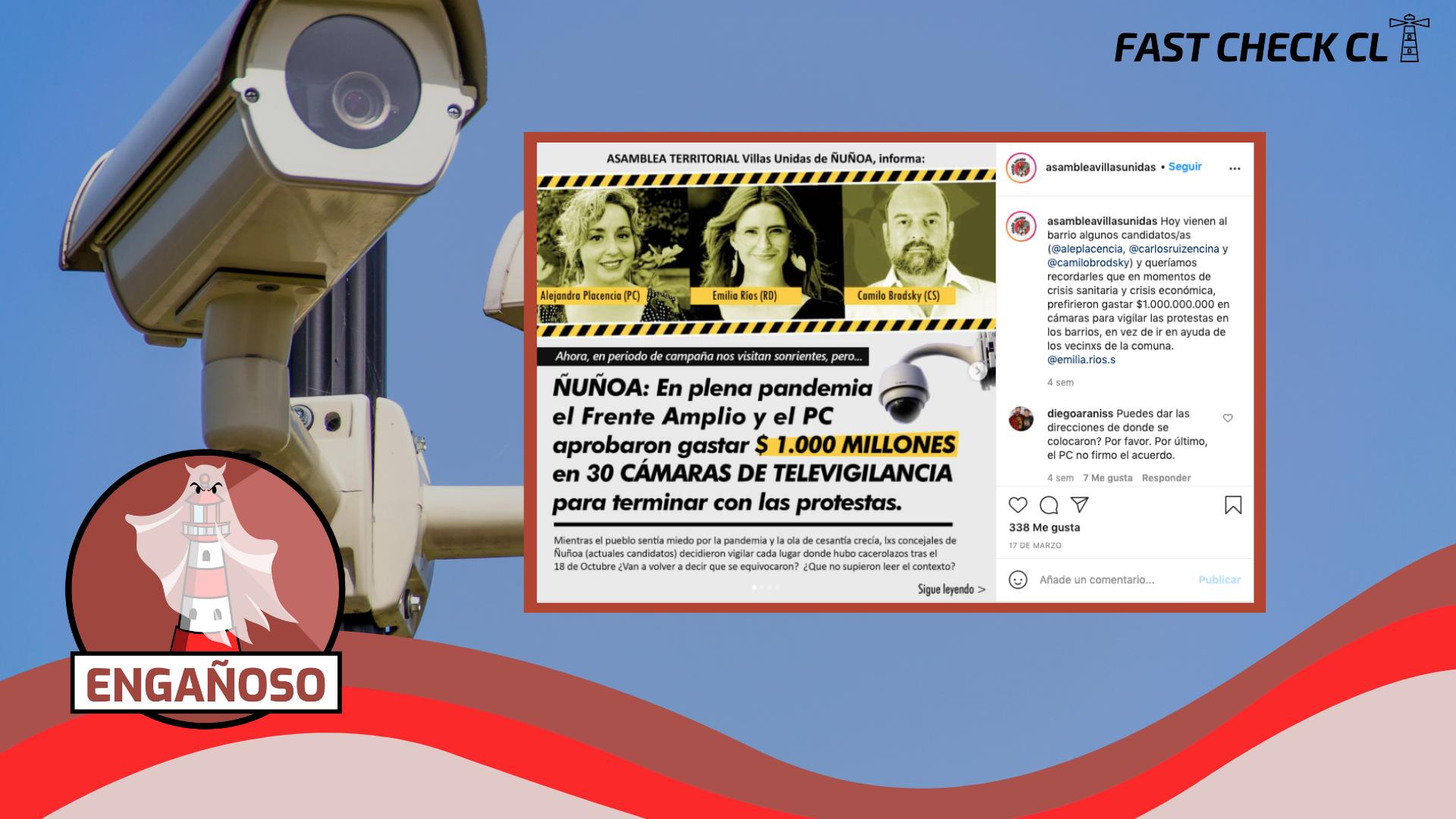 En plena pandemia, el FA y el PC aprobaron gastar $1.000 millones en 30 cámaras de televigilancia en Ñuñoa para terminar con las protestas: #Engañoso