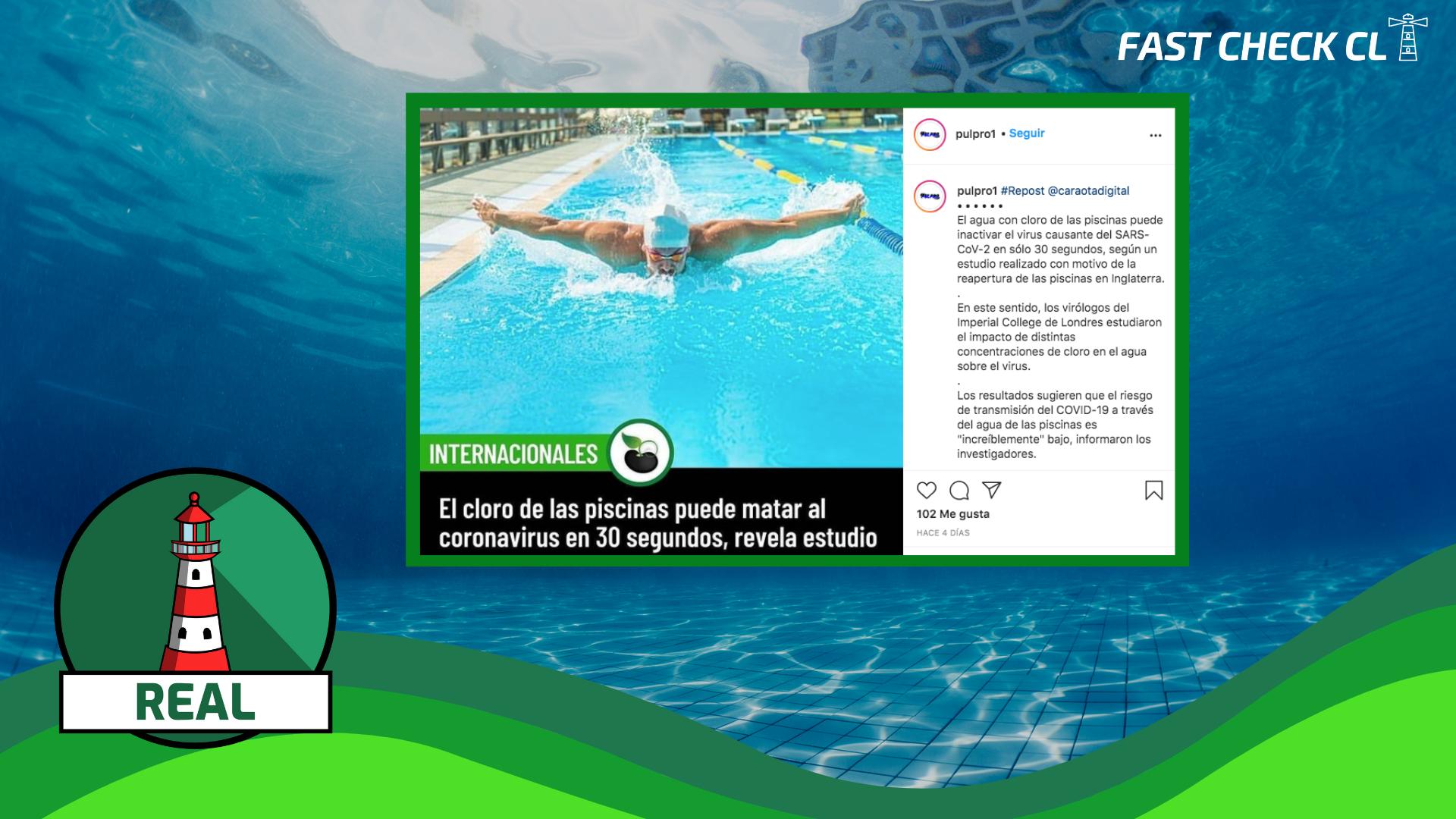 """(Estudio) """"El cloro de las piscinas puede matar el coronavirus en 30 segundos, según estudio"""": #Real"""