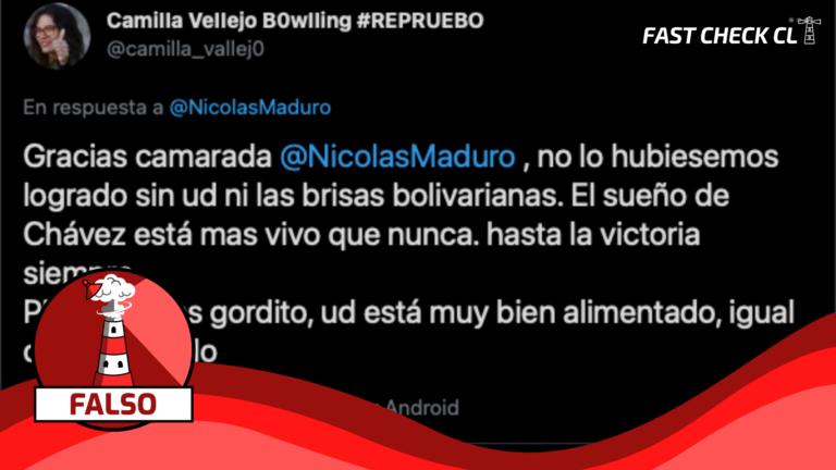 """(Twitter) Camila Vallejo respondió al tuit de Nicolás Maduro: """"No lo hubiésemos logrado sin usted ni las brisas bolivarianas"""": #Falso"""