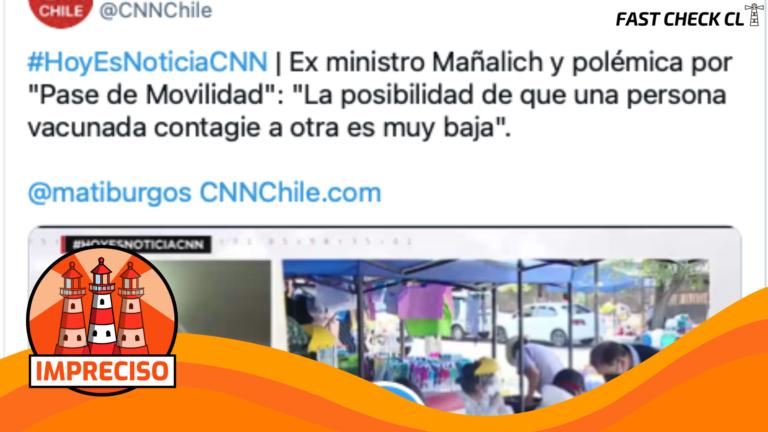 """Read more about the article """"La posibilidad de que una persona vacunada contagie a otra es muy baja"""": #Impreciso"""