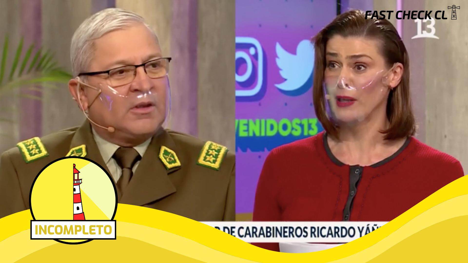 """Read more about the article """"Nosotros tenemos 5 funcionarios (carabineros) que perdieron la vista, 86 quemados con ácido y bombas molotov y 156 heridos a bala"""": #Incompleto"""