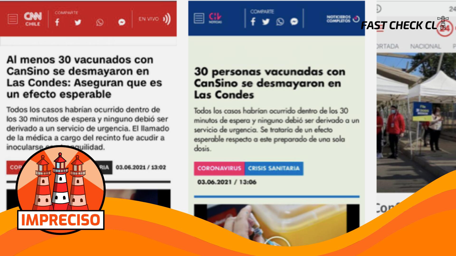 30 personas se desmayaron tras recibir dosis de la vacuna Cansino en Las Condes: #Impreciso