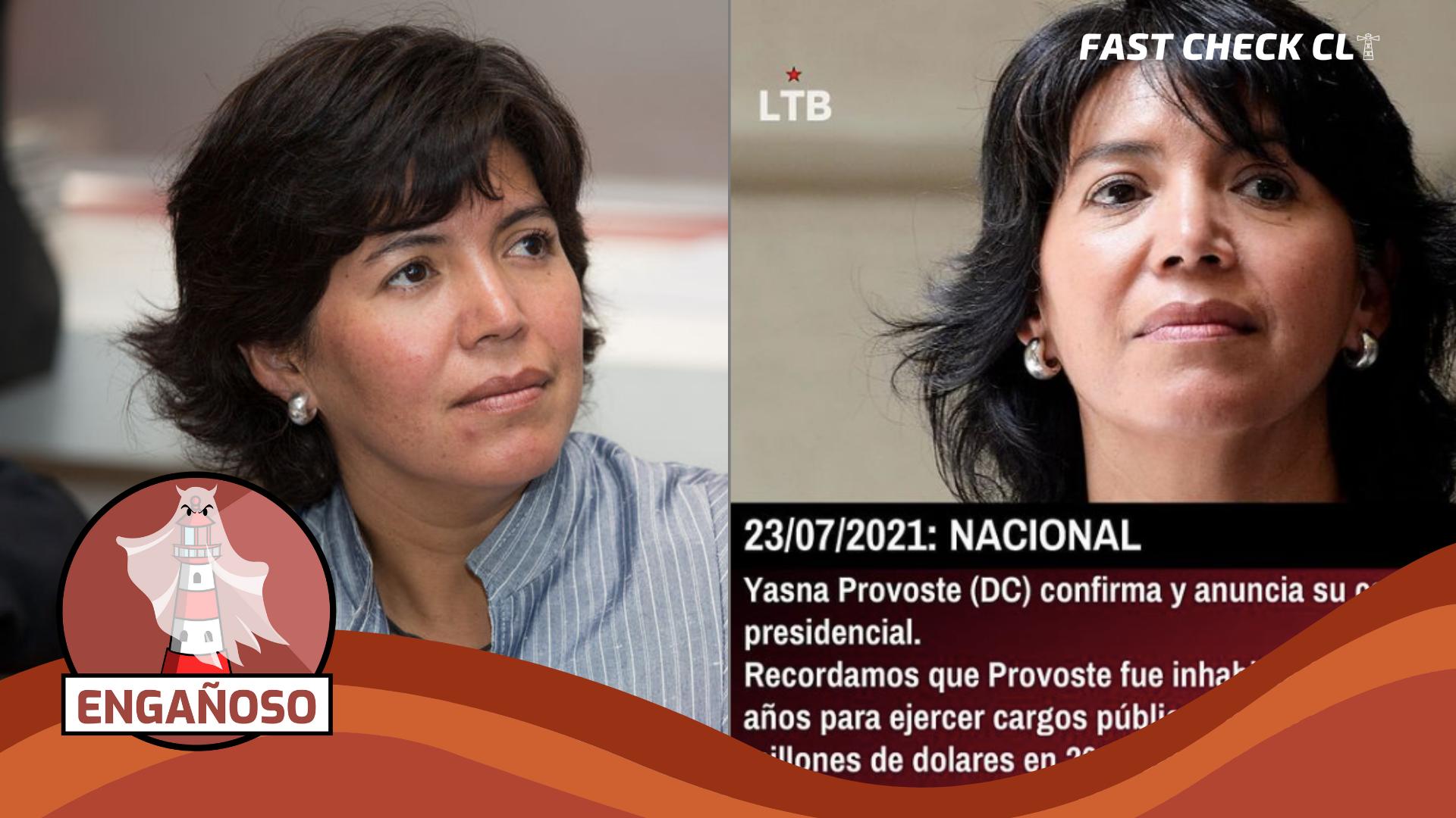 """Read more about the article """"Yasna Provoste fue inhabilitada durante 5 años para ejercer cargos públicos luego de robar 600 millones de dólares"""": #Engañoso"""
