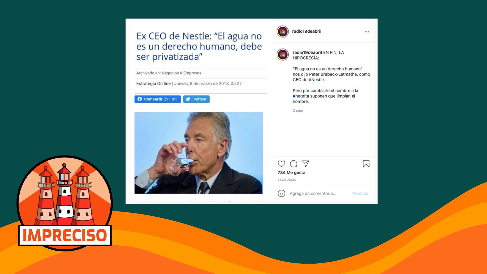 """Read more about the article Ex CEO de Nestlé:  """"El agua no es un derecho humano, debe ser privatizada"""": #Impreciso"""