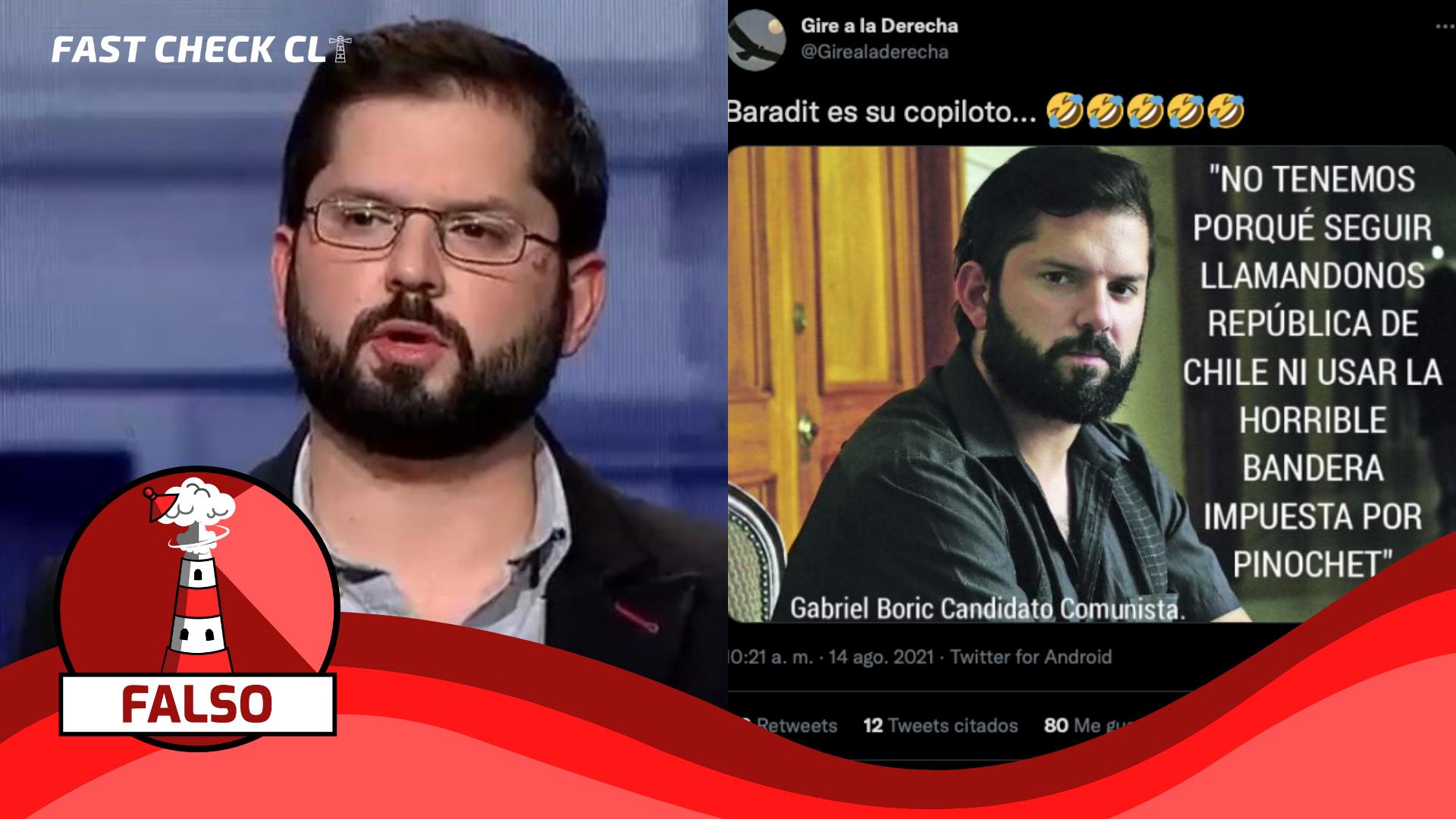 """Read more about the article (Imagen) Gabriel Boric: """"No tenemos porqué seguir llamándonos República de Chile ni usar la horrible bandera impuesta por Pinochet"""": #Falso"""