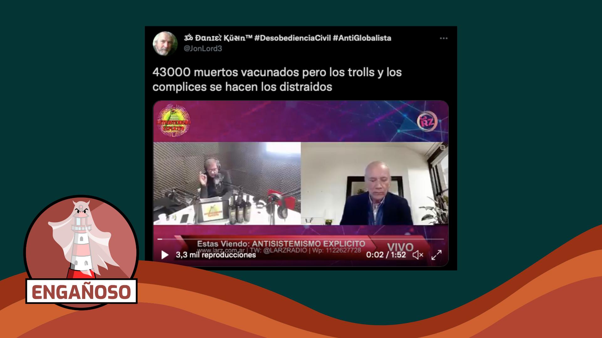 """Read more about the article """"Cifras oficiales del Ministerio de Salud de la República Argentina muestra 43.119 vacunados muertos por Covid"""": #Engañoso"""
