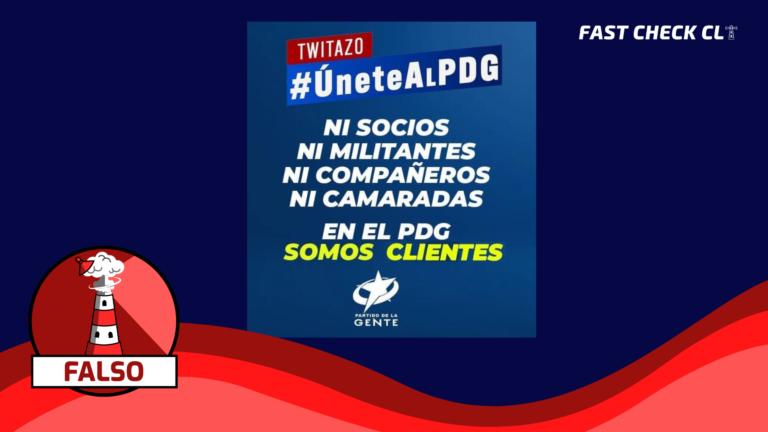 """Read more about the article (IMAGEN) """"NI SOCIOS NI MILITANTES NI COMPAÑEROS NI CAMARADAS, EN EL PARTIDO DE LA GENTE (PDG) SOMOS CLIENTES"""": #FALSO"""