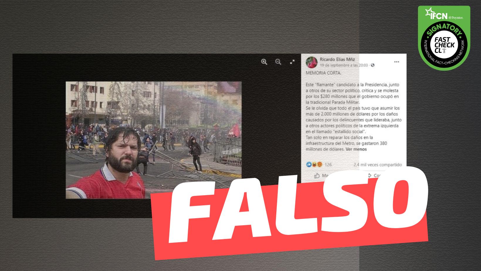 Read more about the article (Imagen) Foto de Gabriel Boric en manifestaciones durante el Estallido Social: #Falso