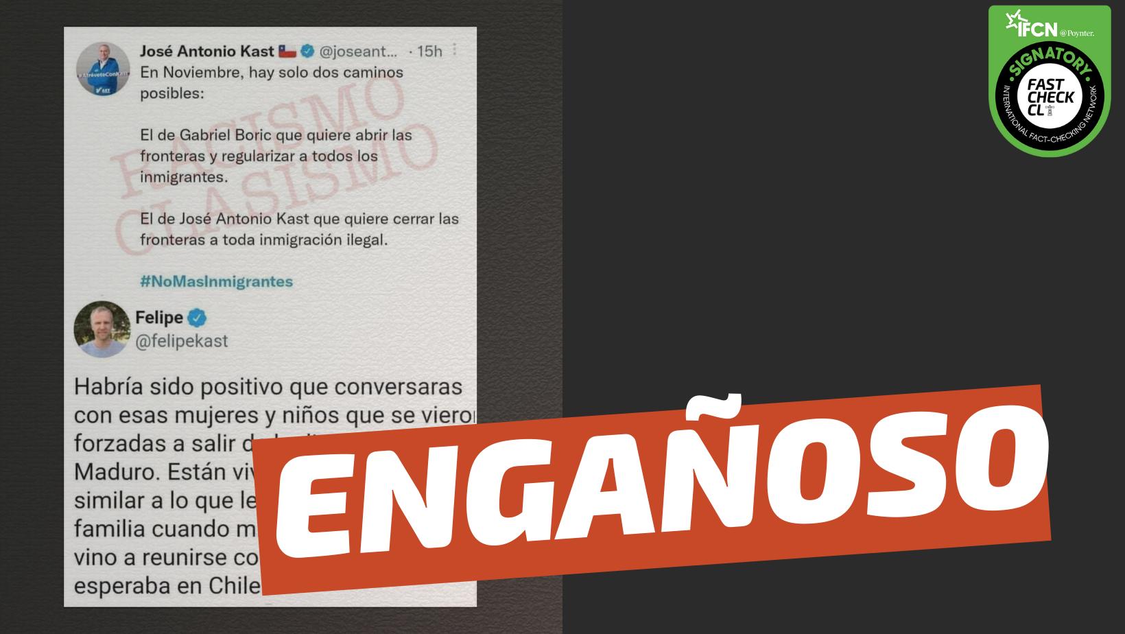 Read more about the article (Twitter) Felipe Kast le responde a José Antonio Kast por inmigración ilegal: #Engañoso
