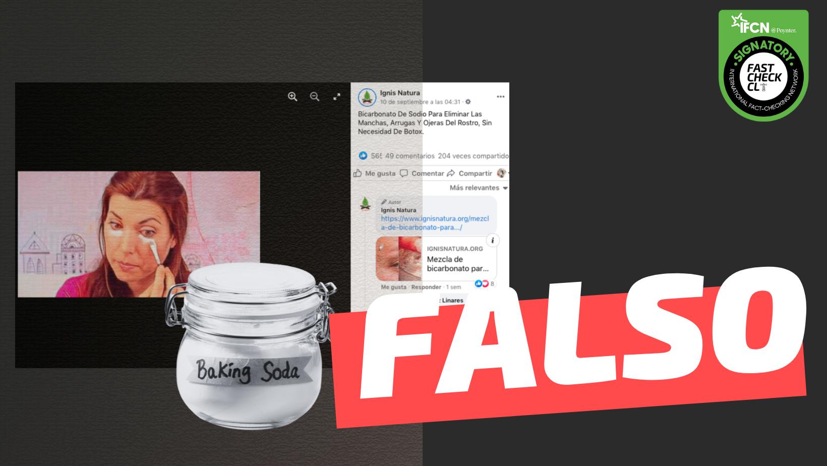 """Read more about the article """"Bicarbonato de sodio sirve para eliminar las manchas, arrugas y ojeras del rostro"""": #Falso"""