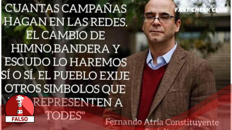 """Read more about the article Fernando Atria: """"No importa cuántas campañas hagan en las redes. El cambio de himno, bandera y escudo lo haremos sí o sí. El pueblo exige otros símbolos que nos representen a todes"""": #Falso"""