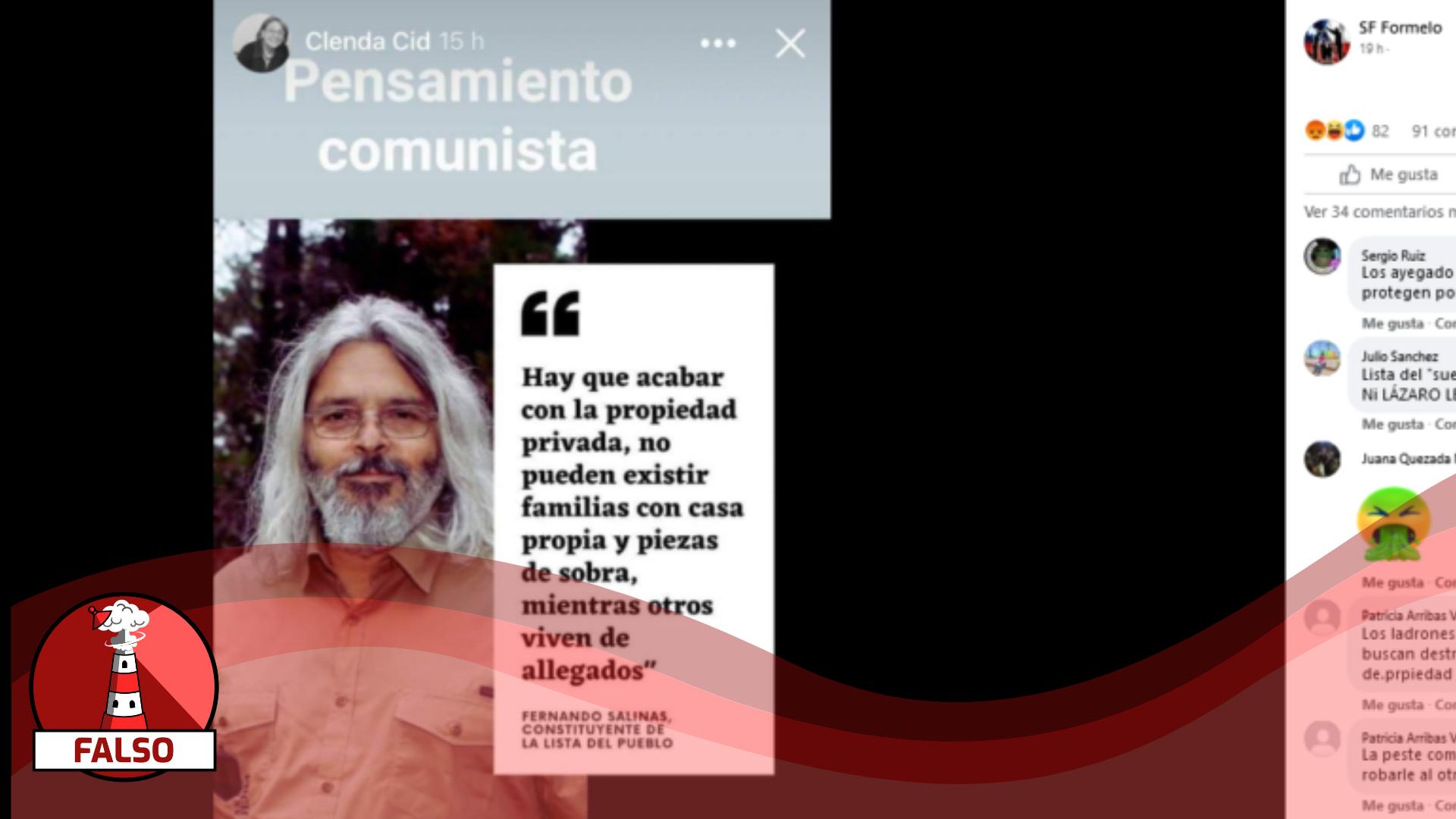 """Read more about the article Fernando Salinas: """"Hay que acabar con la propiedad privada, no pueden existir familias con casa propia y piezas de sobra, mientras otros viven de allegados"""": #Falso"""