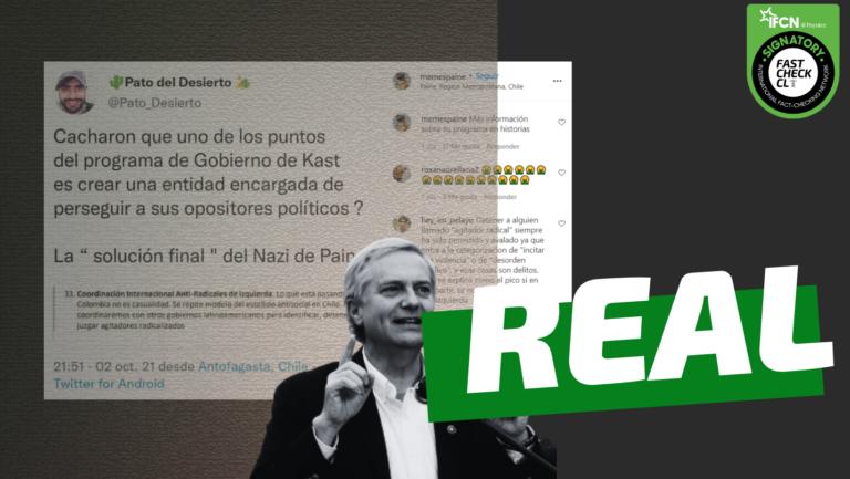 """Read more about the article Programa presidencial de José Antonio Kast tiene un apartado que se llama """"Coordinación Internacional Anti-Radicales de Izquierda"""": #Real"""