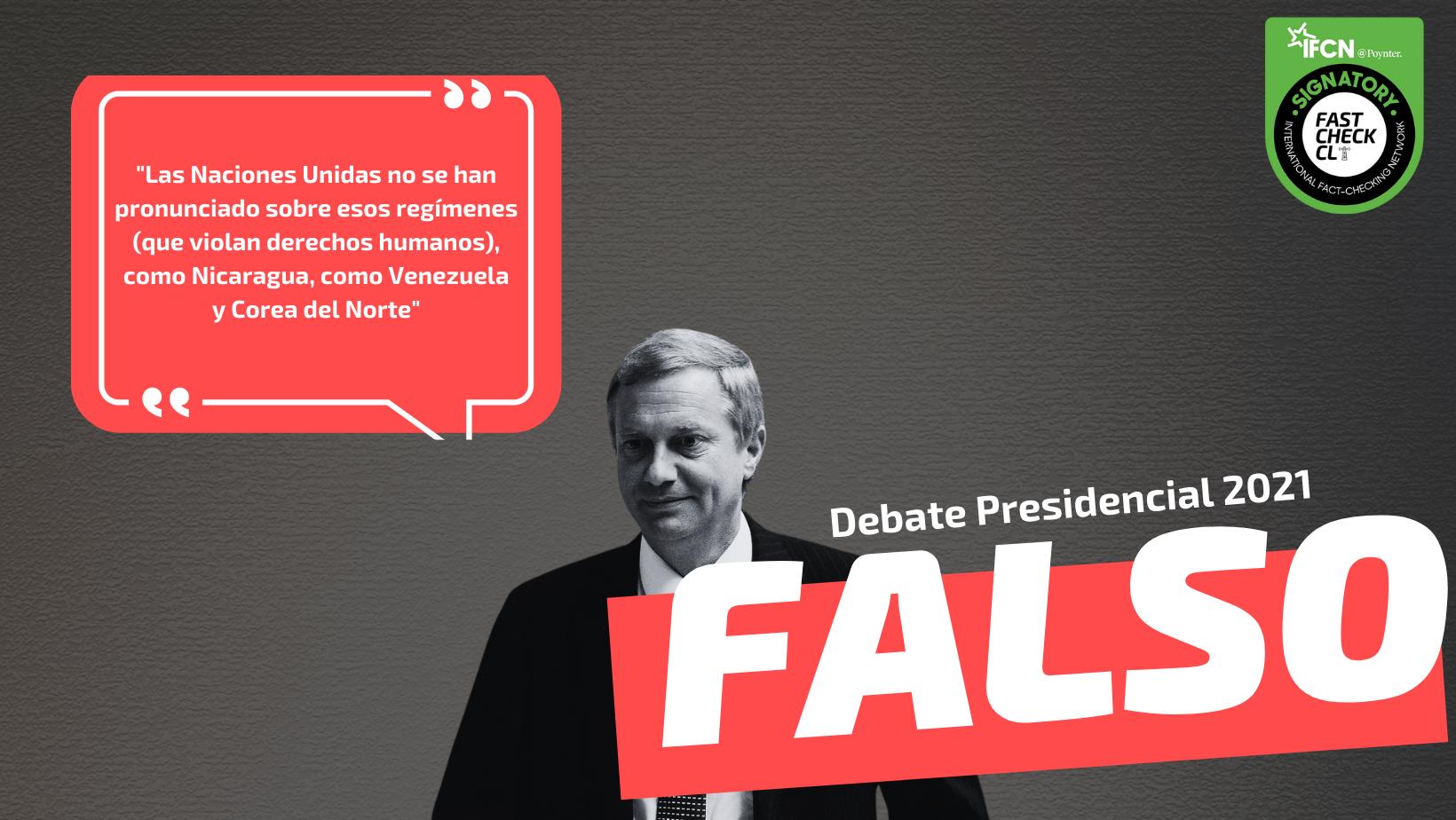 """Read more about the article """"Las Naciones Unidas no se han pronunciado sobre esos regímenes (que violan derechos humanos), como Nicaragua, como Venezuela y Corea del Norte"""": #Falso"""