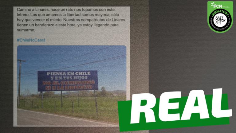 """Read more about the article Cartel que dice: """"Piensa en Chile y en tus hijos. No al comunismo, sí a la libertad"""": #Real"""