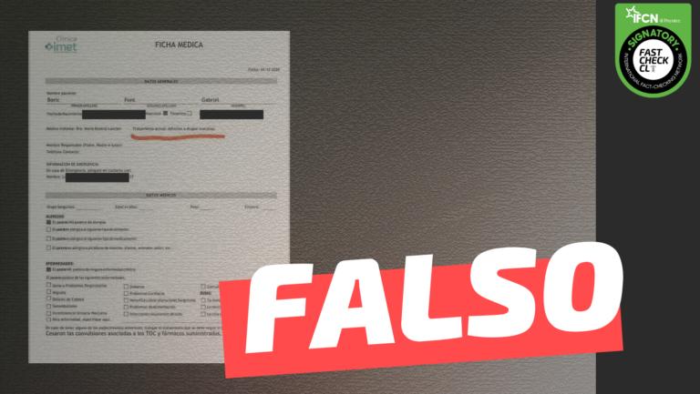 """Read more about the article (Imagen) """"Se confirma tratamiento por adicción a la cocaína del candidato comunista Gabriel Boric"""": #Falso"""