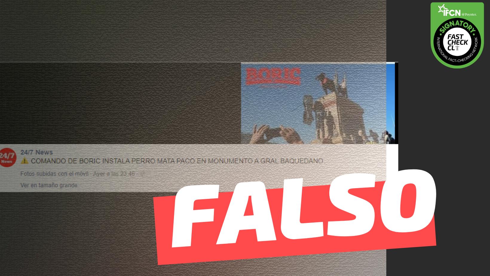 """Read more about the article (Imagen): """"Comando de Boric instala perro matapacos en monumento a General Baquedano"""": #Falso"""