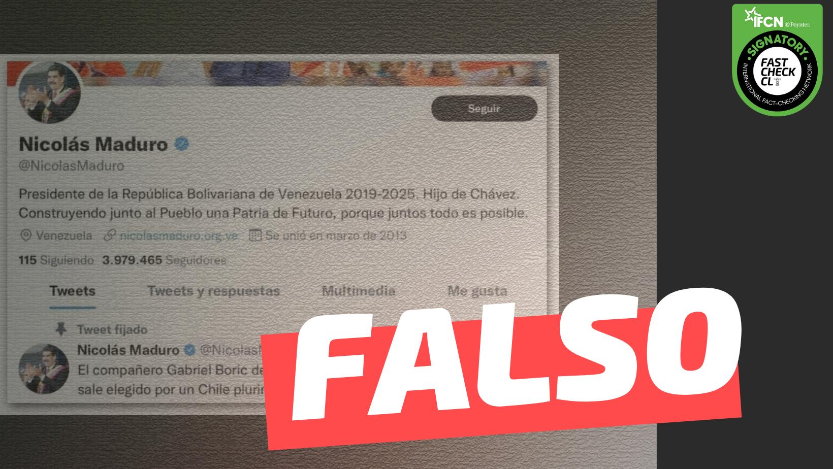 """Read more about the article Nicolás Maduro en Twitter: """"El compañero Gabriel Boric debe cumplir al pie de la letra el programa si sale elegido por un Chile plurinacional Bolivariano"""": #Falso"""