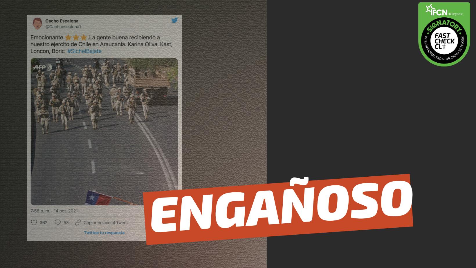 """Read more about the article (Imagen) """"Emocionante. La gente buena recibiendo a nuestro Ejército de Chile en la Araucanía"""": #Engañoso"""