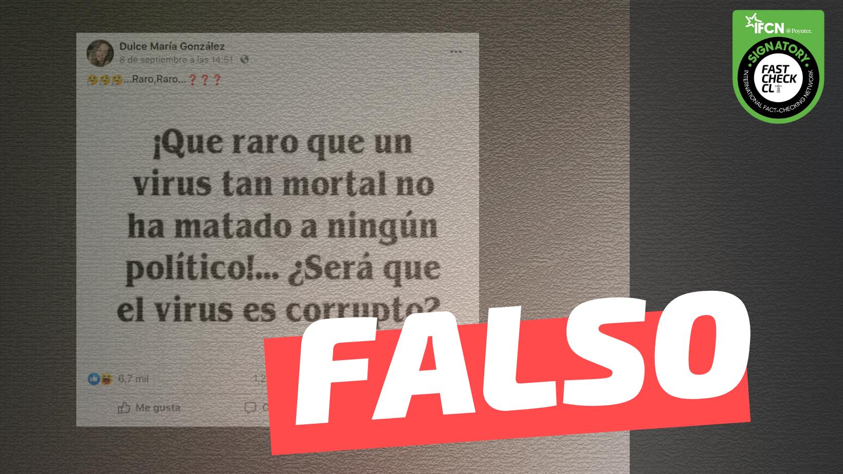 Read more about the article Covid-19 no ha matado a ningún político: #Falso